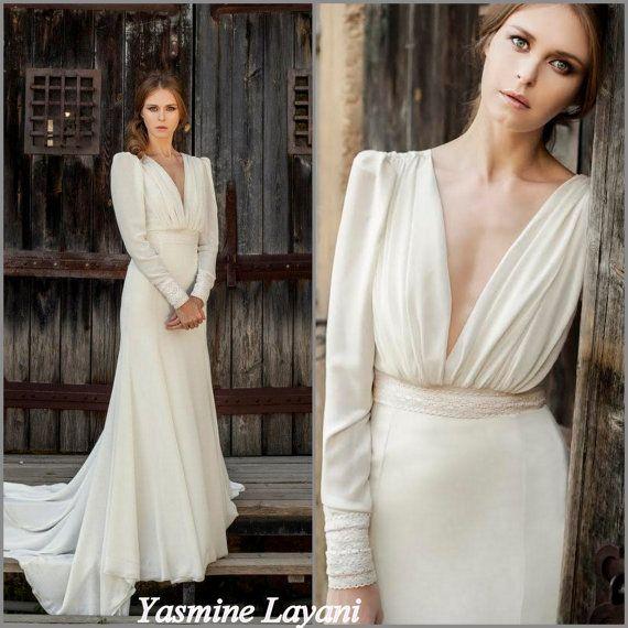 Long Sleeve Wedding Dress Chiffon Wedding Dress Romantic Elegant Long Sleeve Wedding Dresses Romantic Wedding Dress Designers Long Sleeve Wedding Dress Vintage