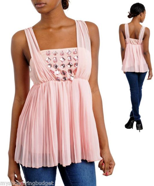 Soft Baby Pink Crepe Jr Elegant Top with Faux Stones Only $14.99