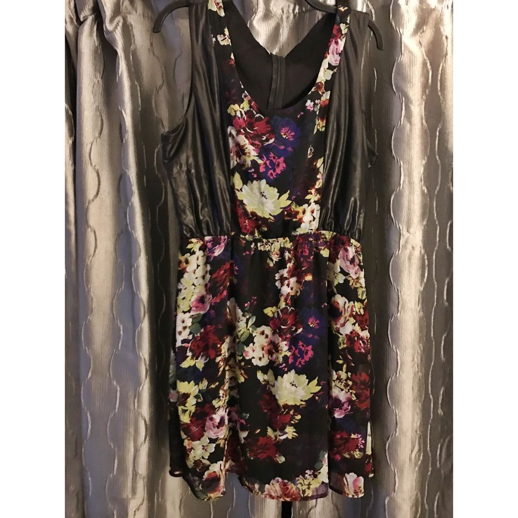Floral pleather and lace dress products