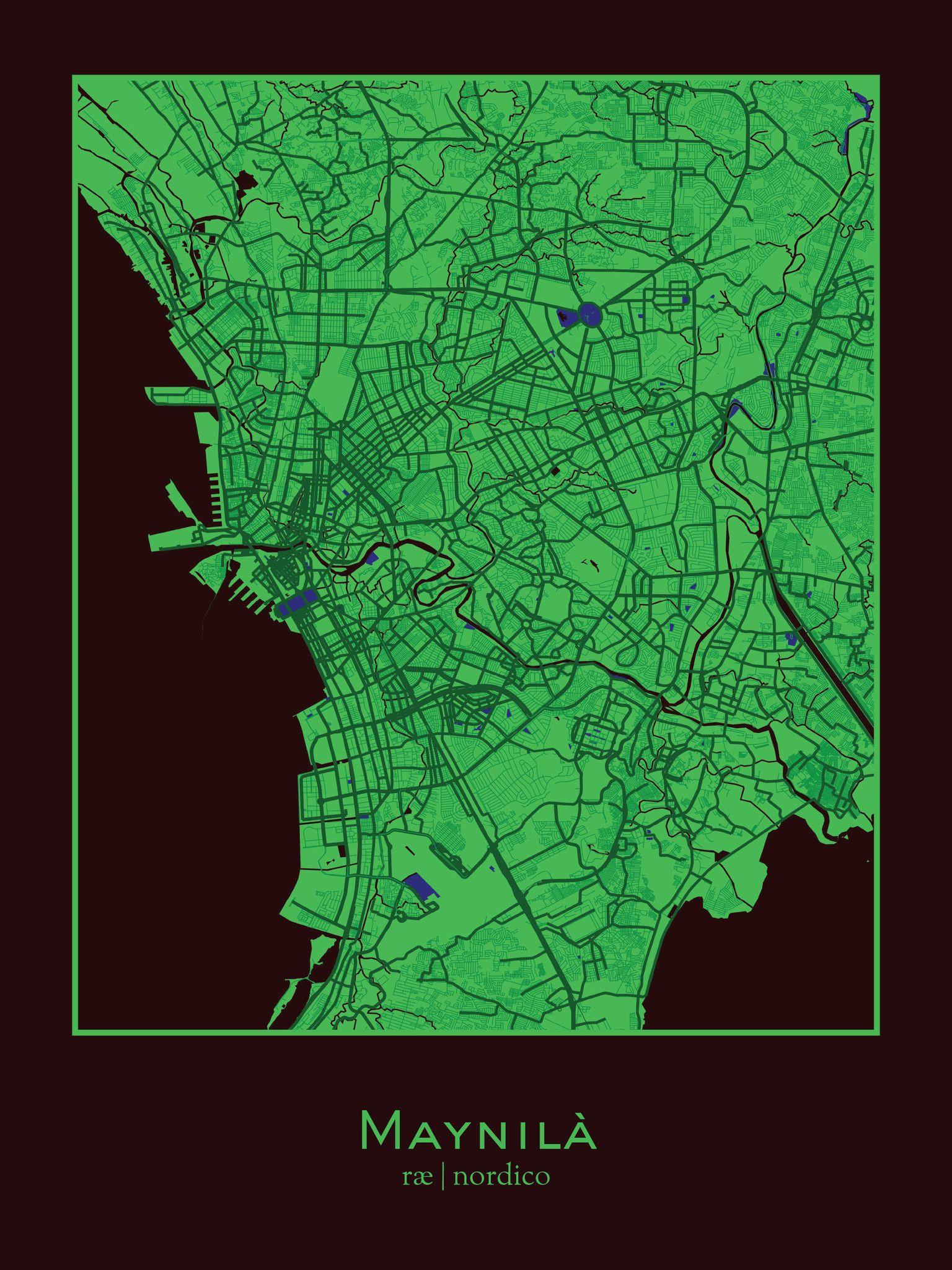Manila, Philippines Map Print Map print, Philippine map, Map