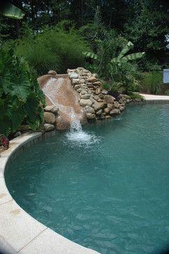 Hidden Slide And Tropical Pool Backyard Pool Landscaping Pool Landscaping Tropical Pool