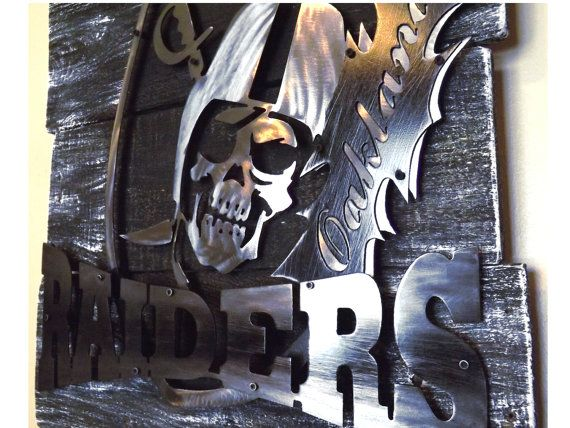 Oakland Raiders 3d Layered Metal Art On A Reclaimed Wood Etsy Metal Art 3d Metal Art Layered Art