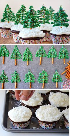 Christmas tree cupcakes. Decorate your simple chocolate cupcakes into cute little Christmas trees with help from pretzels, icing and colorful sprinkles.