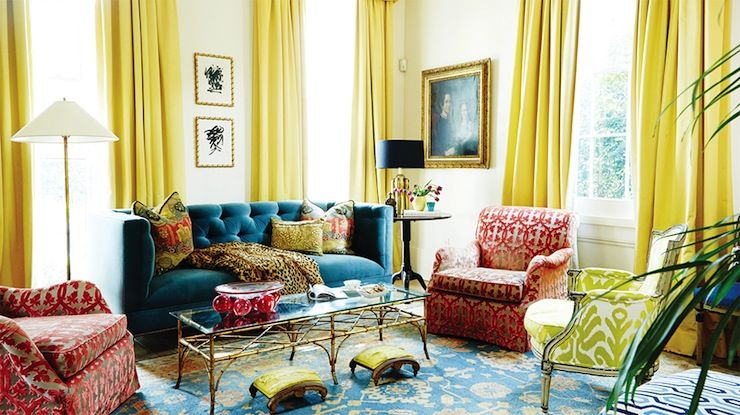SMITTEN BY: YELLOW SILK CURTAINS | Yellow curtains, Velvet tufted ...