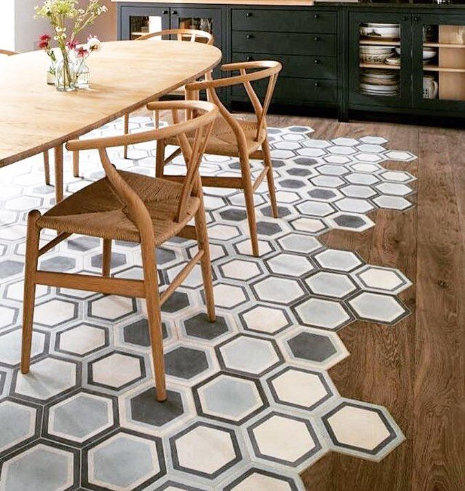 A Slam Dunk By Bridgetreadingid With This Dining Room Design Using Pophamdesign Concrete Honeycomb Hex R Patterned Floor Tiles Floor Design Honeycomb Tile