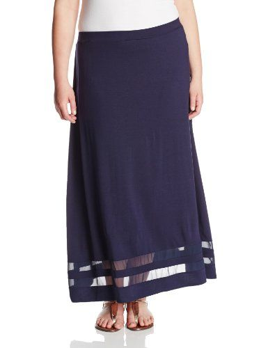 ad5a070c6d Black Friday Vince Camuto Women's Plus-Size Maxi Skirt with Chiffon Inset,  Blue Night, 2X from Vince Camuto Cyber Monday