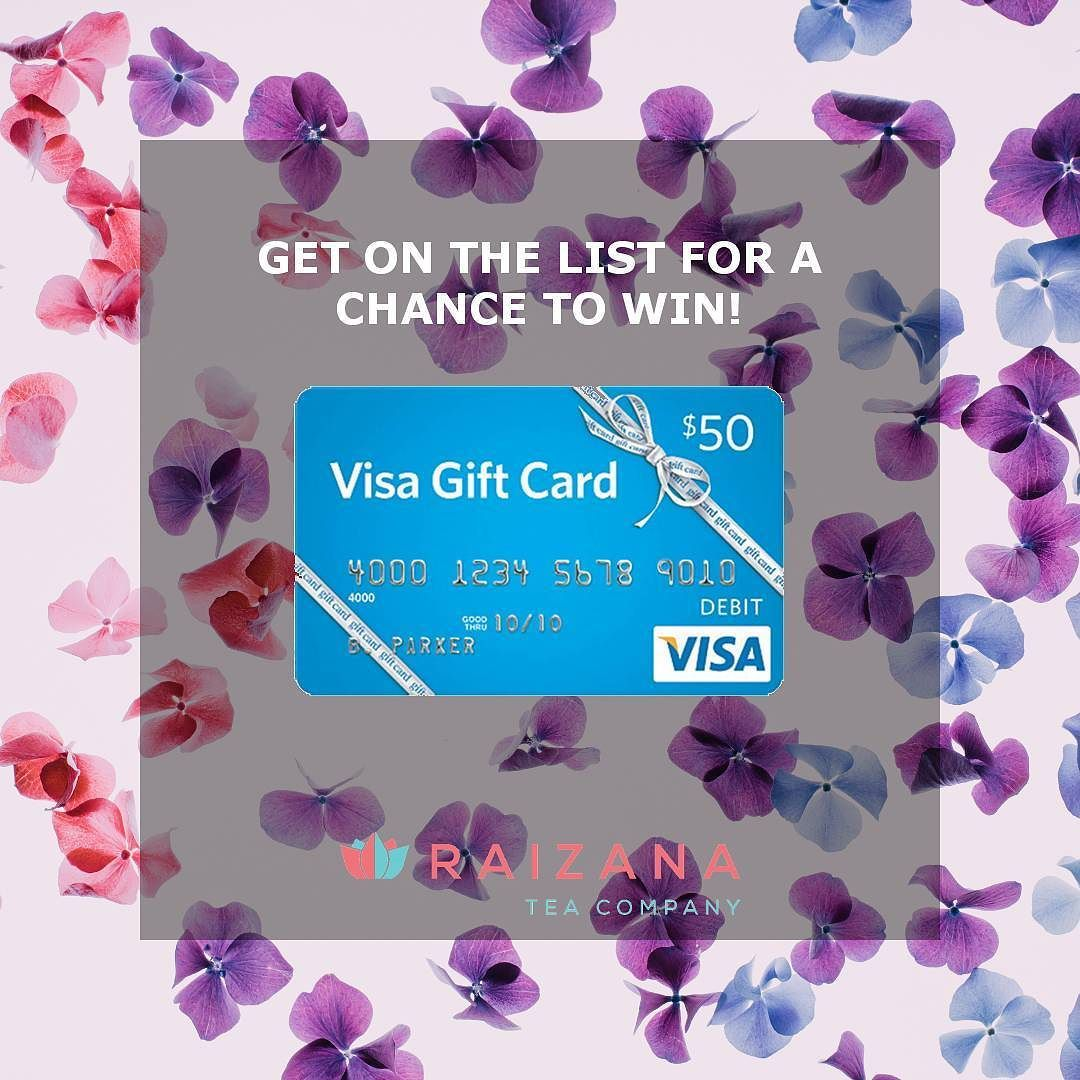 GET ON THE LIST FOR A CHANCE TO WIN A $50 VISA GIFT CARD!  Step 1: Repost this Promo.  Step 2: Sign up at http://ift.tt/2gTf8zt  RAIZANA INSIDERS GET FUN EMAILS FAB OFFERS AND FIRST ACCESS TO NEW PRODUCTS.  All new subscribers will also receive a secret code for 20% off your next order. (Link in profile) #giftcard #promo #sweepstakes #enter #win #deals SHOP NOW at http://raizana.com Raizana Tea Co. makes natural tea and wellness blends using unique flavors and fresh high-quality ingredients.