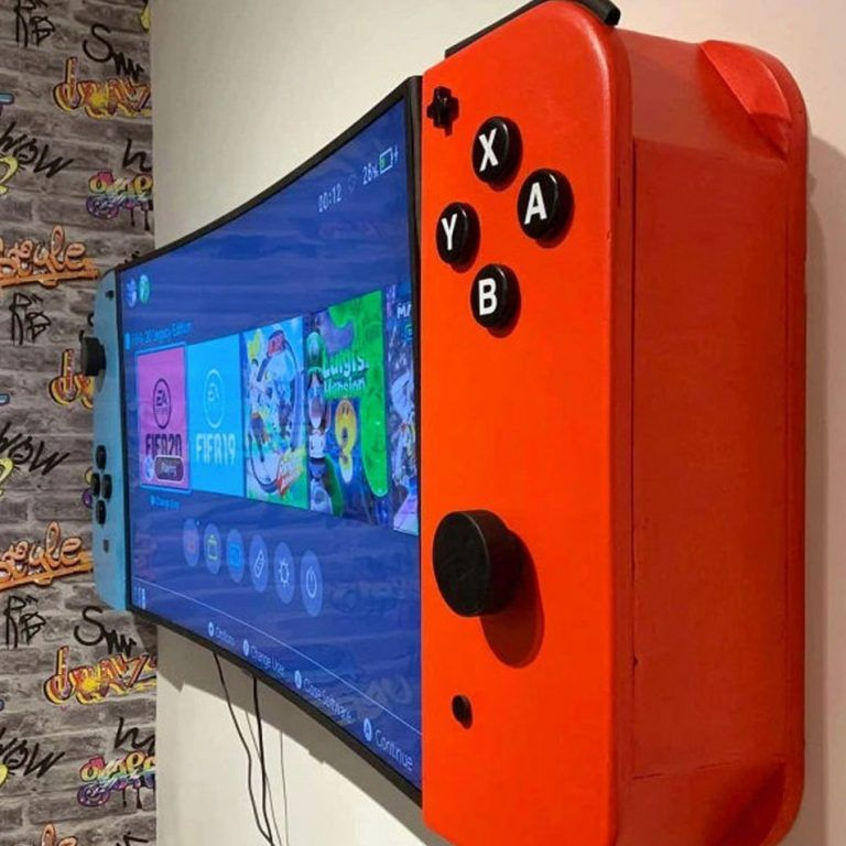 Nintendo Switch Tv Cabinet Video Game Room Design Game Room Kids Game Room Design