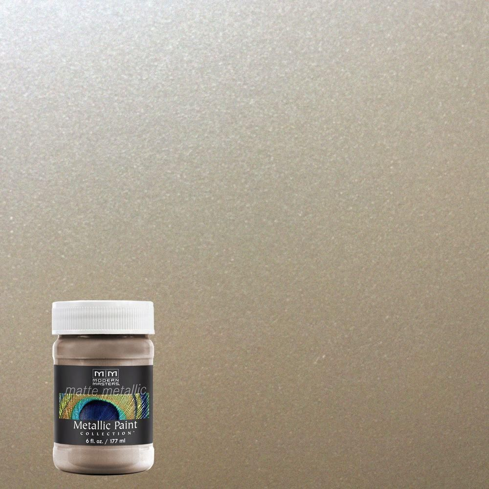Modern Masters 6 Oz Warm Silver Water Based Matte Metallic Interior Paint Mm22106 The Home Depot Modern Masters Interior Paint Matte Metallic