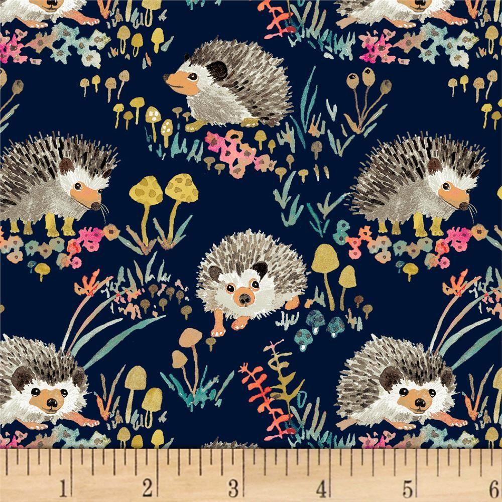 Hedgehog Small 100/% COTTON Poplin Fabric  Children White Grey Blue Animals
