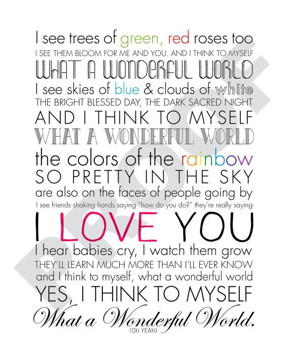 I Hear Babies Cry And I Watch Them Grow Lyrics : babies, watch, lyrics, LOUIS, ARMSTRONG, Wonderful, World, PRINTABLE, World,, Louis, Armstrong, Songs,, Wonders