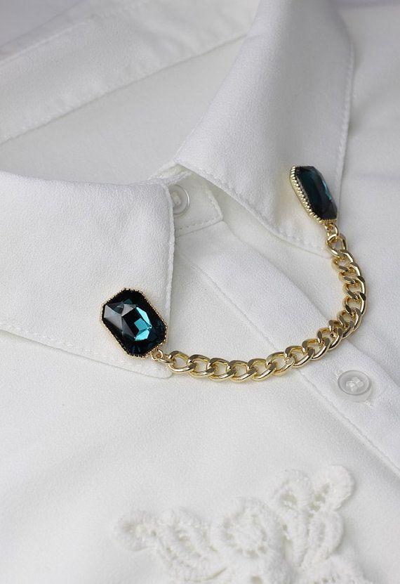 369a95b00ed1 Gemstone Chain Brooch,Collar Pins,Collar Clips,Collar Tips,Collar  Brooch,Double Pin,Collar Jewelry,Collar Chains,Collar Chain Clips.
