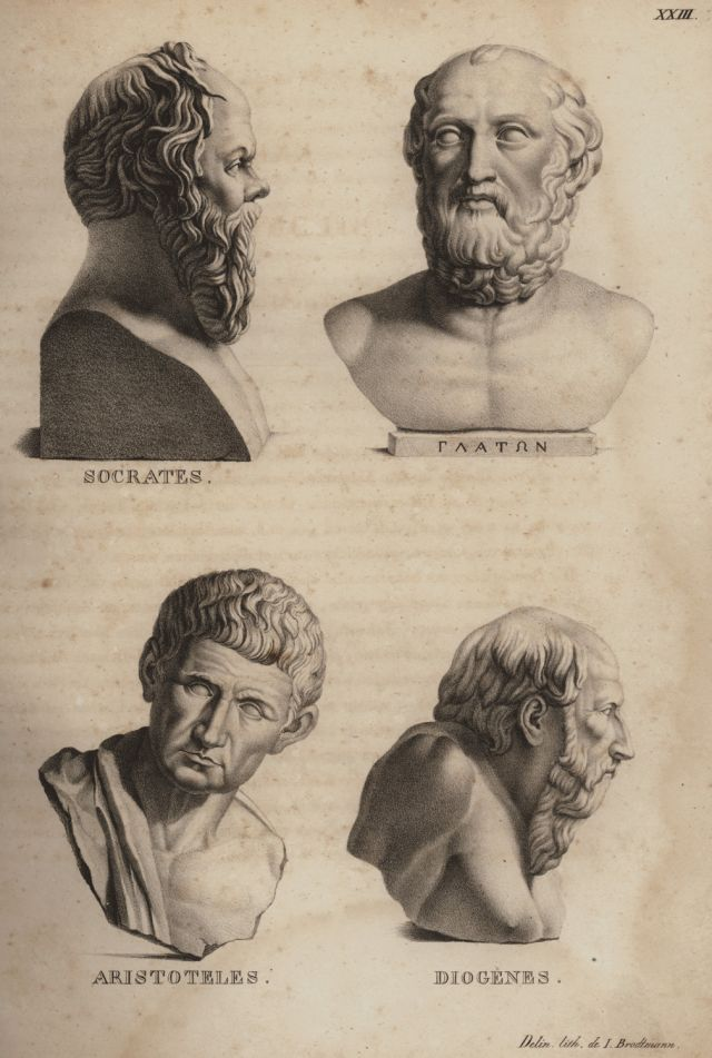 Busts Of Socrates Plato Aristotle And Diogenes The Cynic