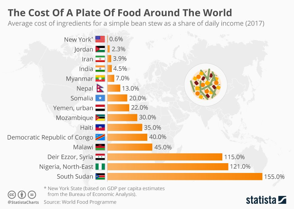 Infographic the cost of a plate of food around the world