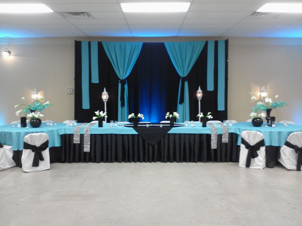 Black And Turquoise Wedding Head Table And Backdrop By
