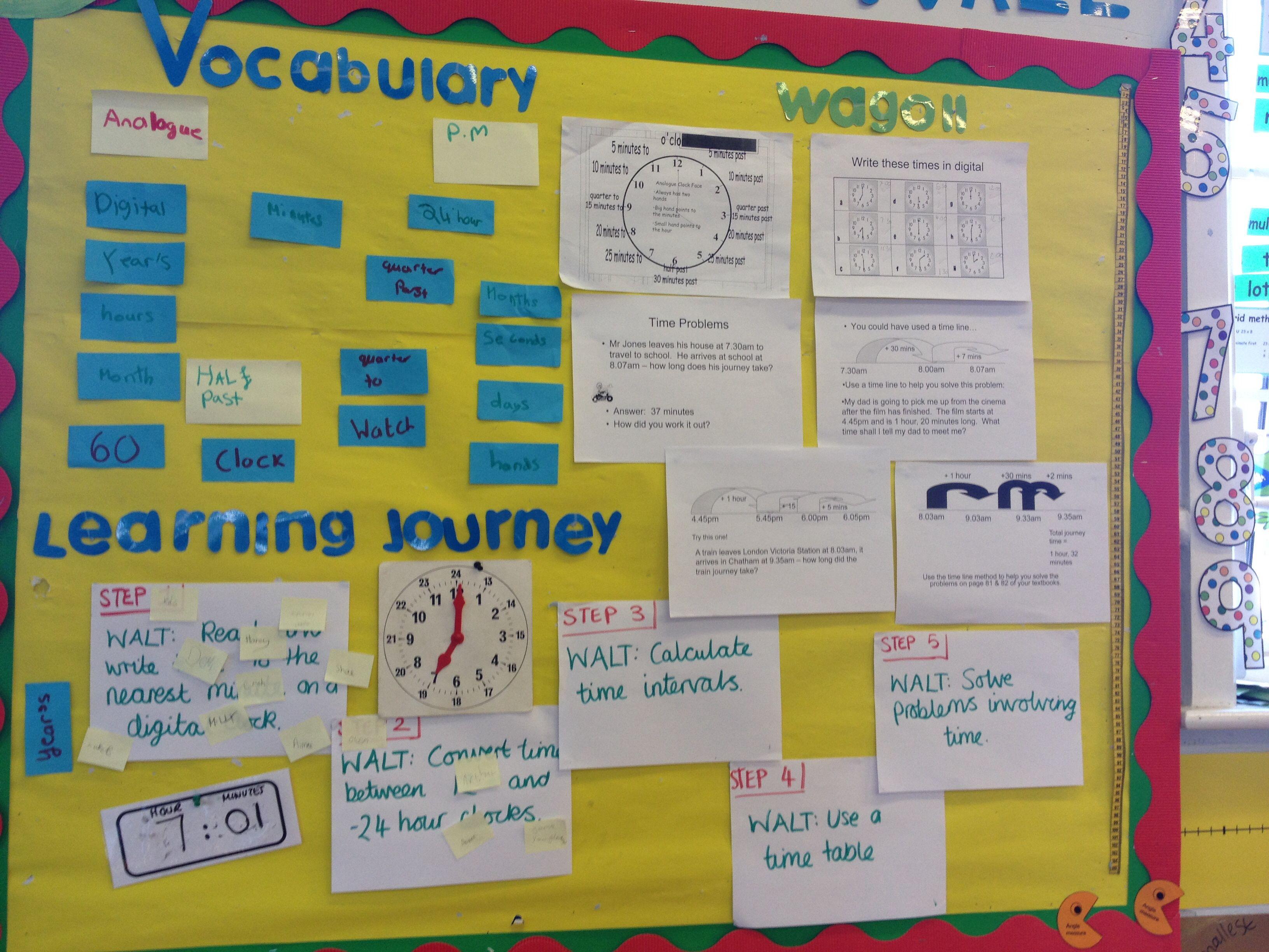 Maths Working Wall Y4 Time | School | Pinterest | Maths working wall ...