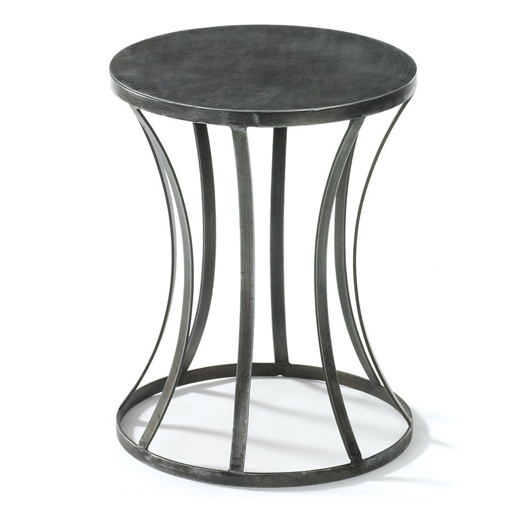 Tin round side table industrial style small spaces and industrial