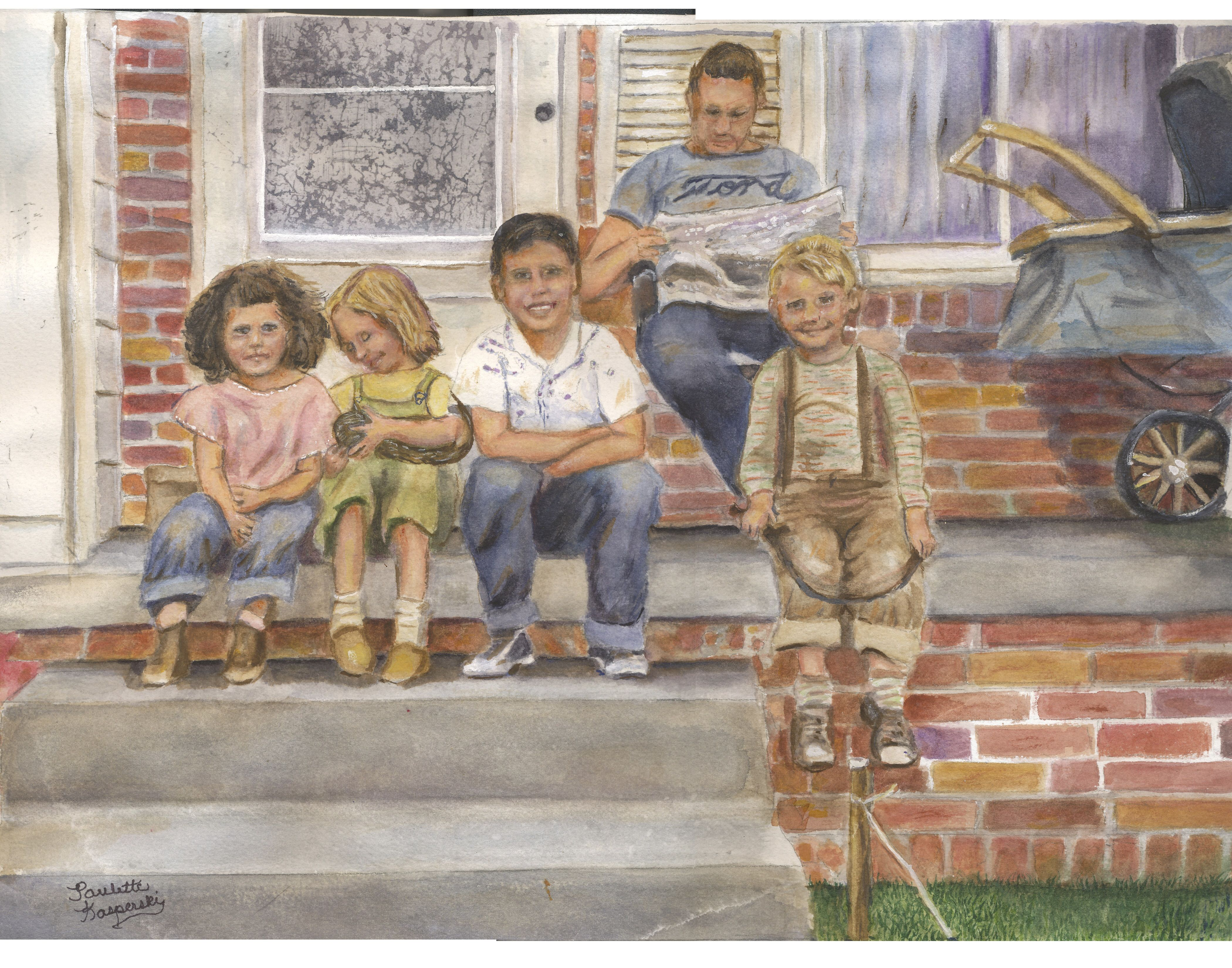 Watercolor Of Me My Brother And My Next Door Neighbors When I Was Young Painting Watercolor Art