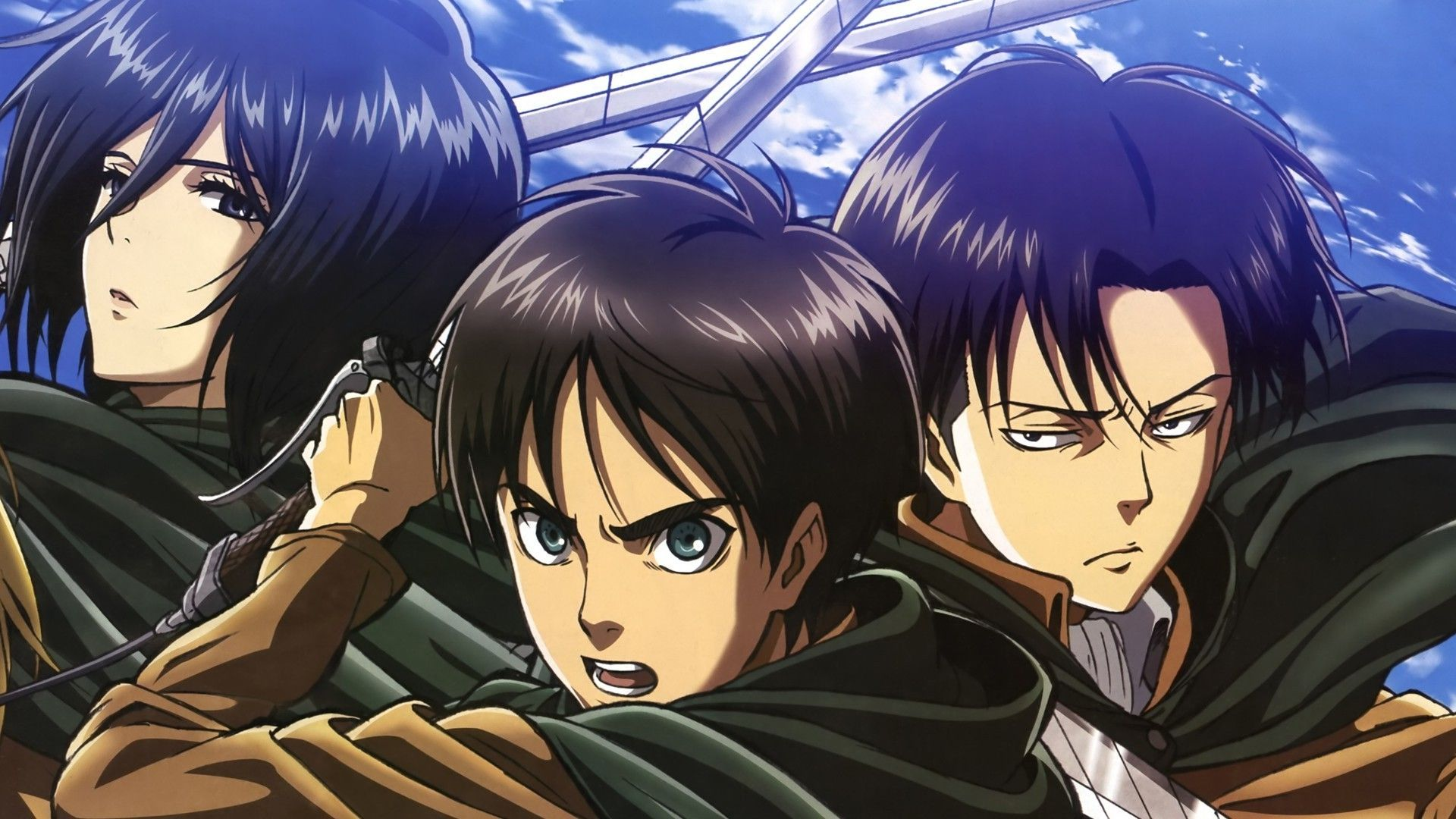 Mikasa Ackerman Eren Yeager And Levi Wallpaper Attack On Titan Anime Anime Attack On Titan