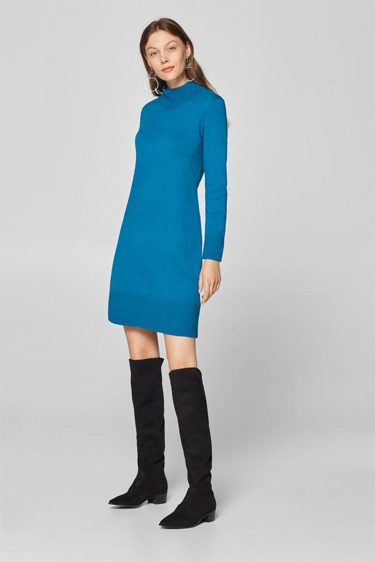 439995ab333493 Esprit - Uitlopende gebreide jurk met geribde details