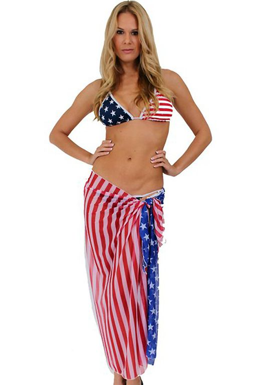 a13d66ffb38 American Flag Sheer Long Wrap Skirt ST264 USA Stars and Stripes Sarong  Cover Up