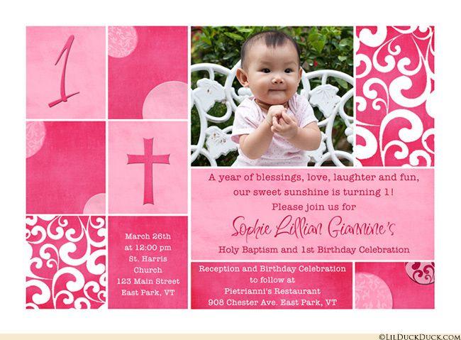 Shabby Chic Baptism Birthday Invitation Has A Custom Scrapbook Style With Patterne Birthday Invitations First Birthday Invitations Birthday Invitations Kids