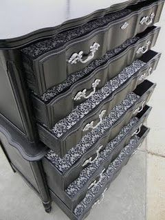 Refinished French Provincial Dresser With Damask Drawer Liners