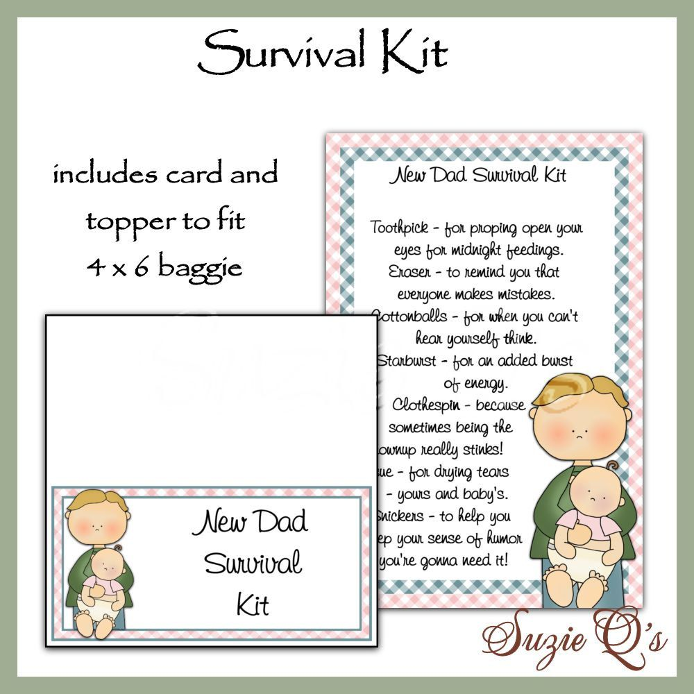 New Dad Survival Kit includes Topper and Card  by SuzieQsCrafts, $1.50