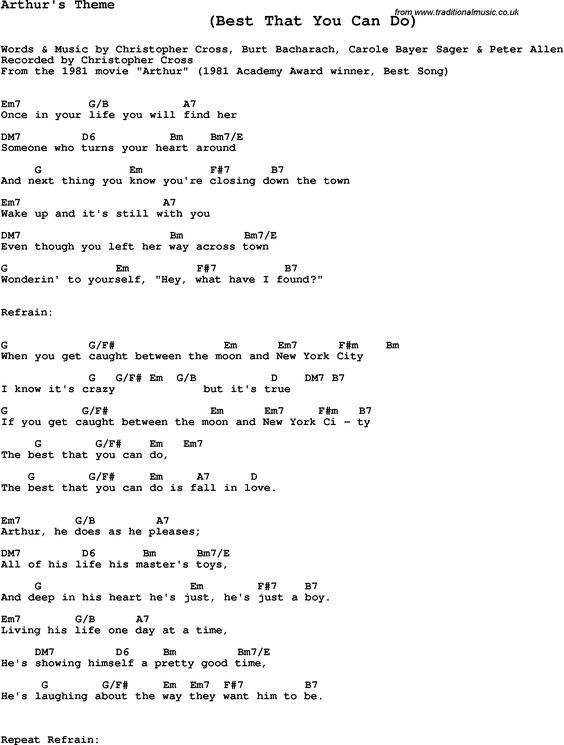 Song Lyrics With Guitar Chords For Arthurs Theme Christopher