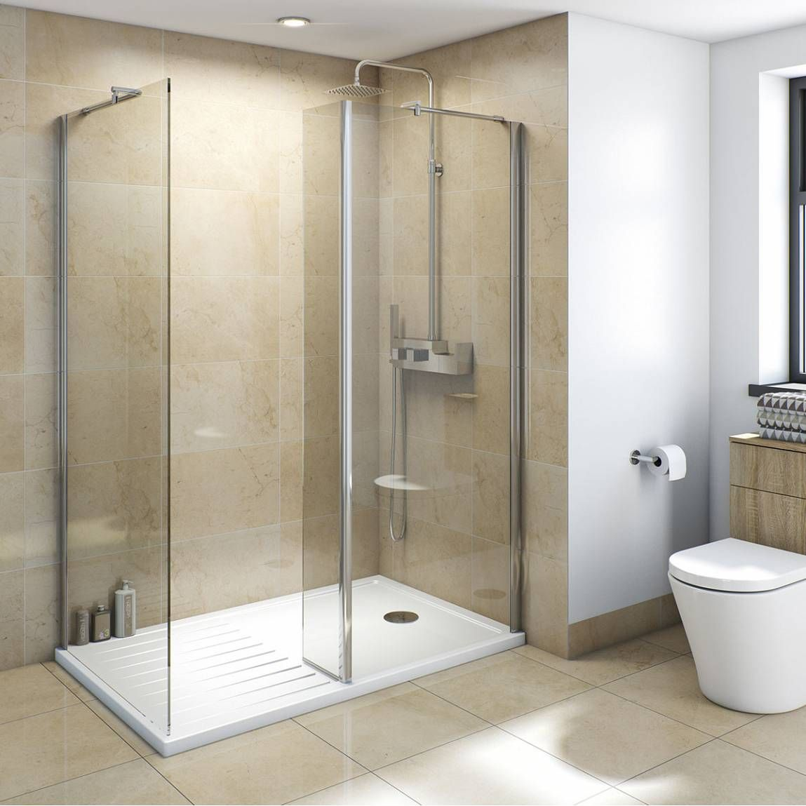 Bathroom Accessories Victoria Plumb v8+ walk in shower enclosure pack 1400 x 900 - victoria plumb