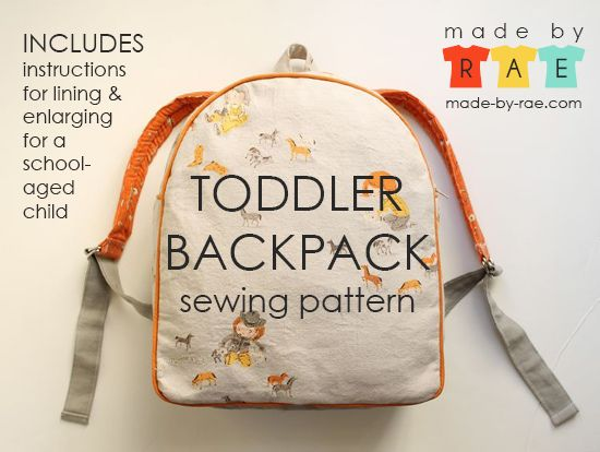 Toddler Backpack Tutorial (also has instructions for making a standard size backpack) $8 for pdf download