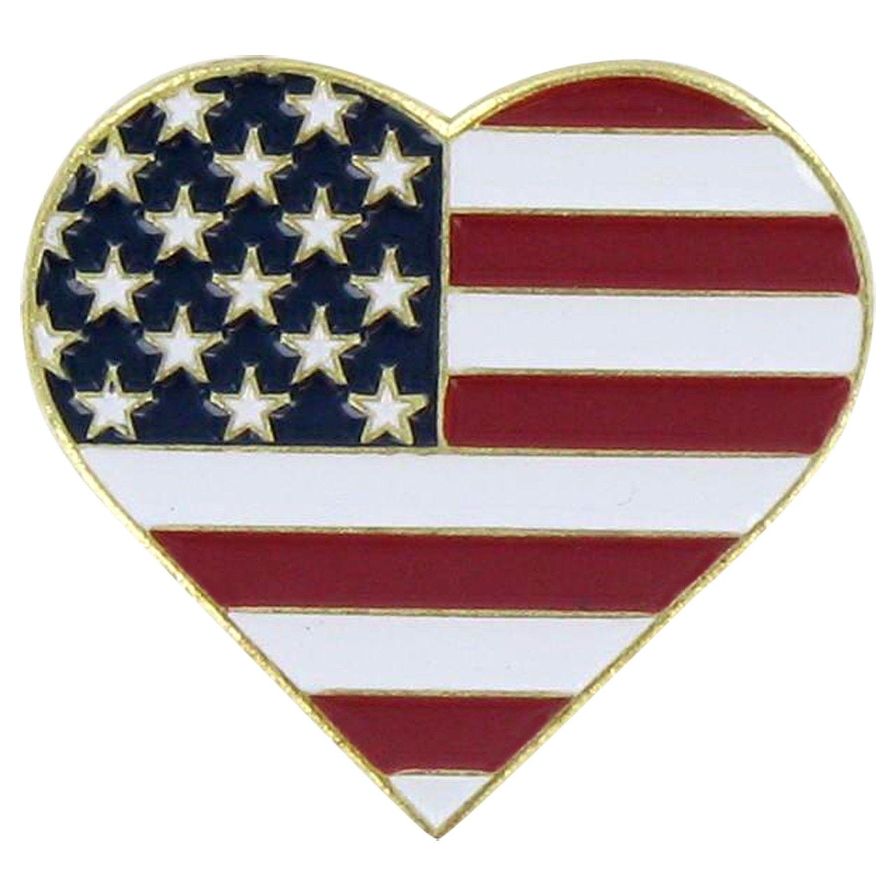 Usa Heart Pin Patriotic Pins American Flag Lapel Pin Heart Pin
