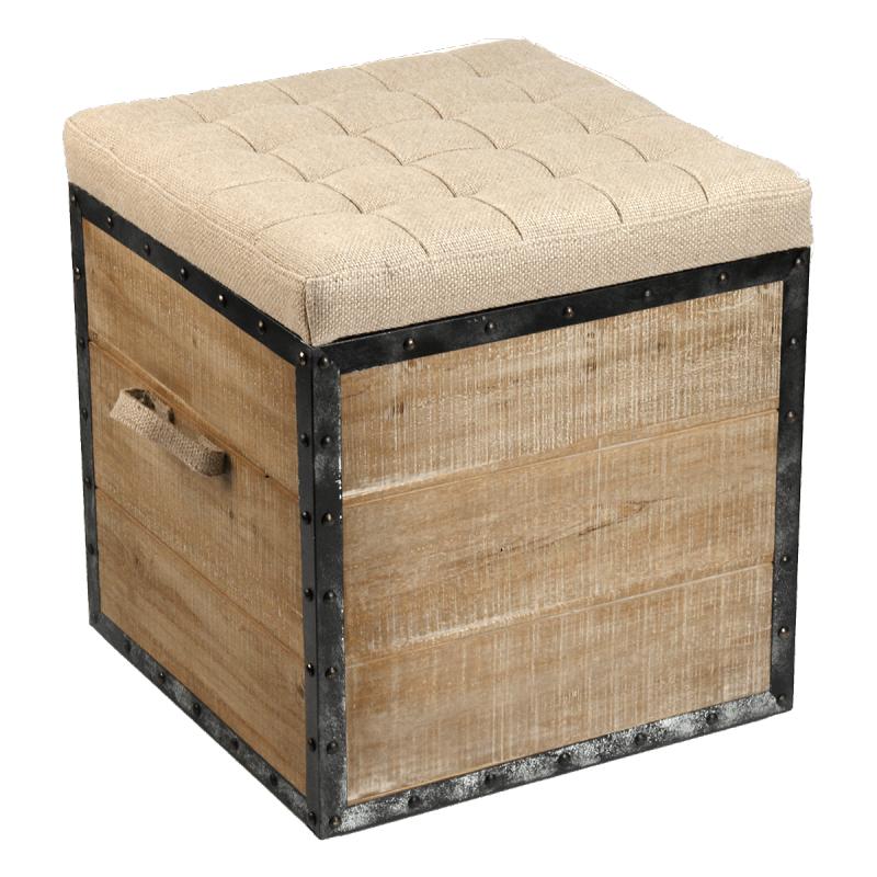 Zentique // Burlap Upholstered Crate Stool Ottoman