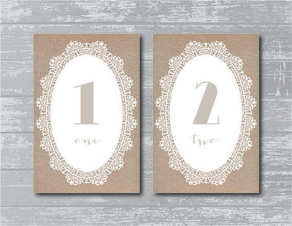 Burlap style Wedding Reception Table Numbers 1-10 DIY ...
