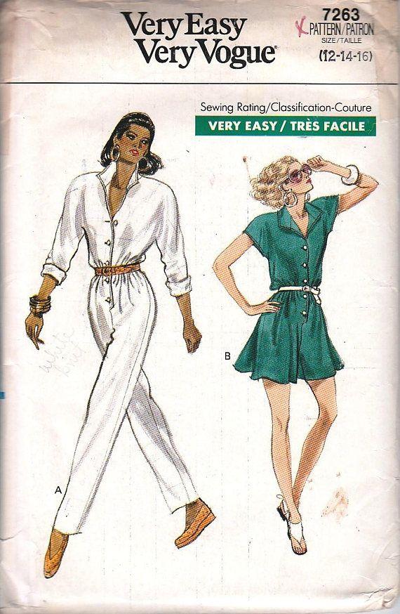 Vintage Vogue 80s Sewing Patterns, DIY, Jumpsuit, Size M L, Long ...