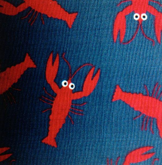 Fun Fun Fabric Finders Red Lobsters on Blue Fabric 60W 1 yd Fabric Finders Ocean Beach
