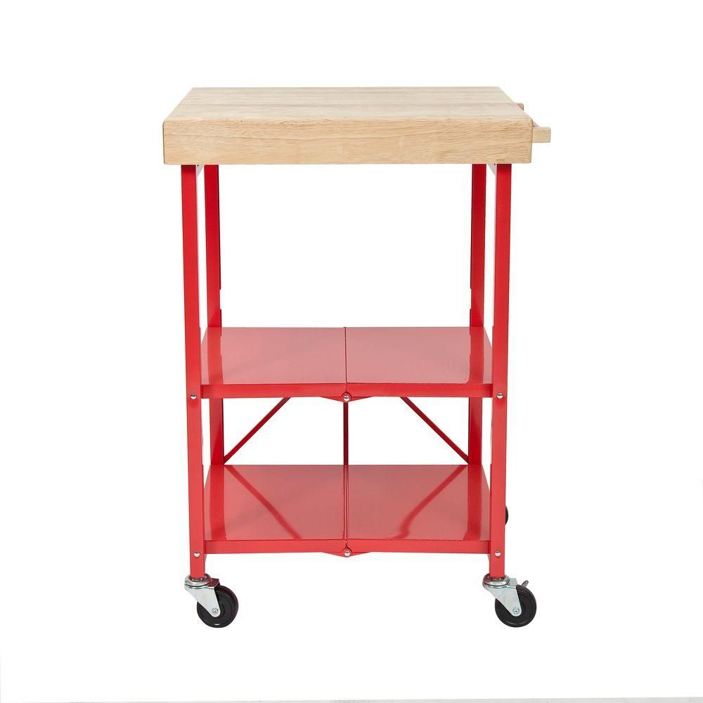 Origami 26 in. W Rubber Wood Folding Kitchen Island Cart RBT ...