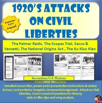 1920 s attacks on civil liberties lecture power point print and