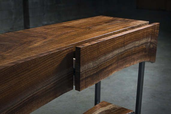 Walnut Waterfall Console Table With Live Edge Live Edge Table Console Table Live Edge