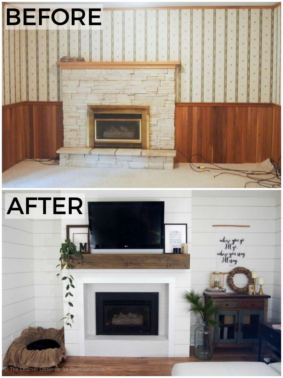 From Dated Wood Paneling And Wallpaper With A Crumbling Stone Fireplace To A Beautiful Bright W Wood Paneling Makeover Paneling Makeover Gas Fireplace Makeover