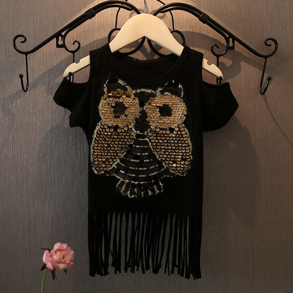 $5.58 (Buy here: http://appdeal.ru/84e7 ) 2016 Summer Baby Girls Kids Fashion Off Shoulder Sequin Owl Tassel T Shirt Children Casual tee shirt fille Party Tops Clothes Z2 for just $5.58