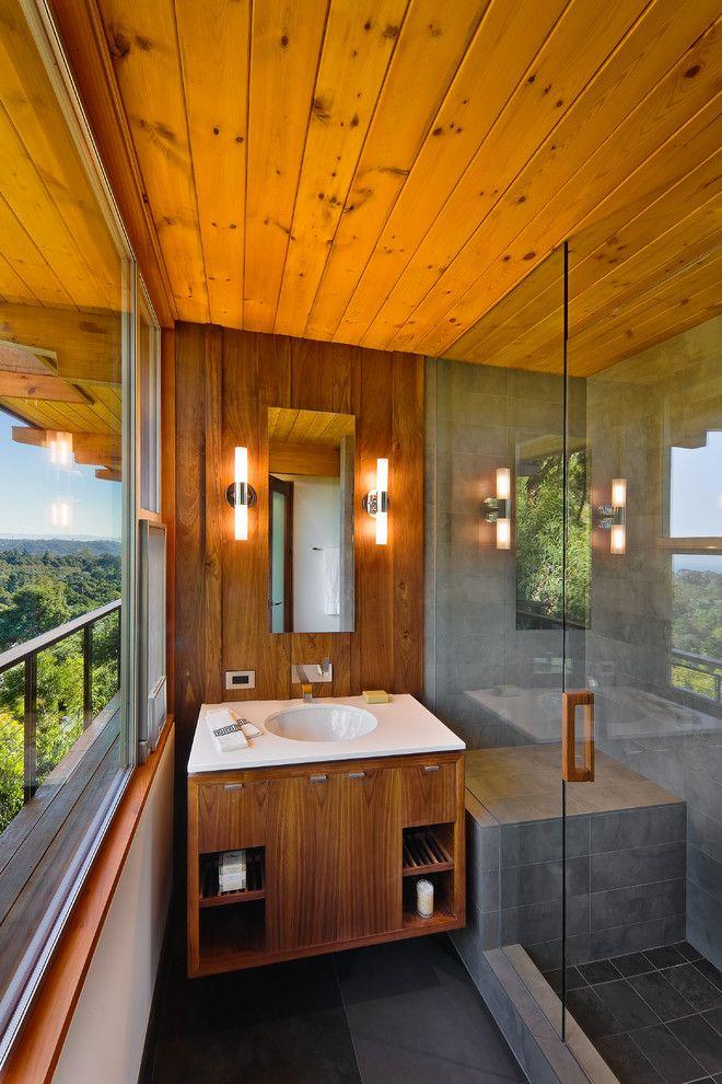 Mid century modern wood paneling bathroom contemporary ...