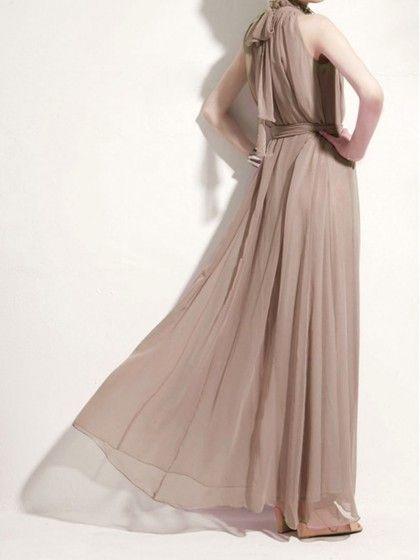 Robe Longue Mousseline Kaki | Choies