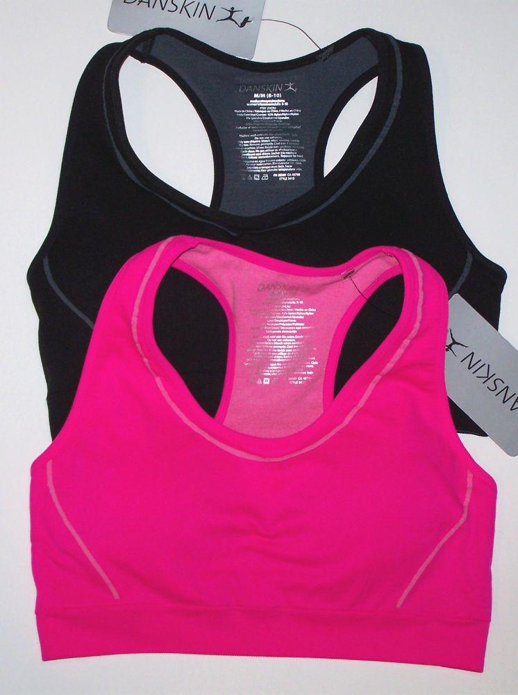 Nwt New Danskin Sport Bra Crop Top Basic Seamless Stretch