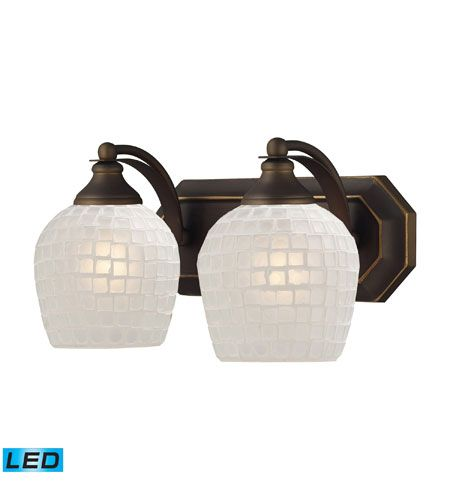 Photo of Mix and Match LED 14 inch aged bronze vanity light wall lamp made of white mosaic glass, 2