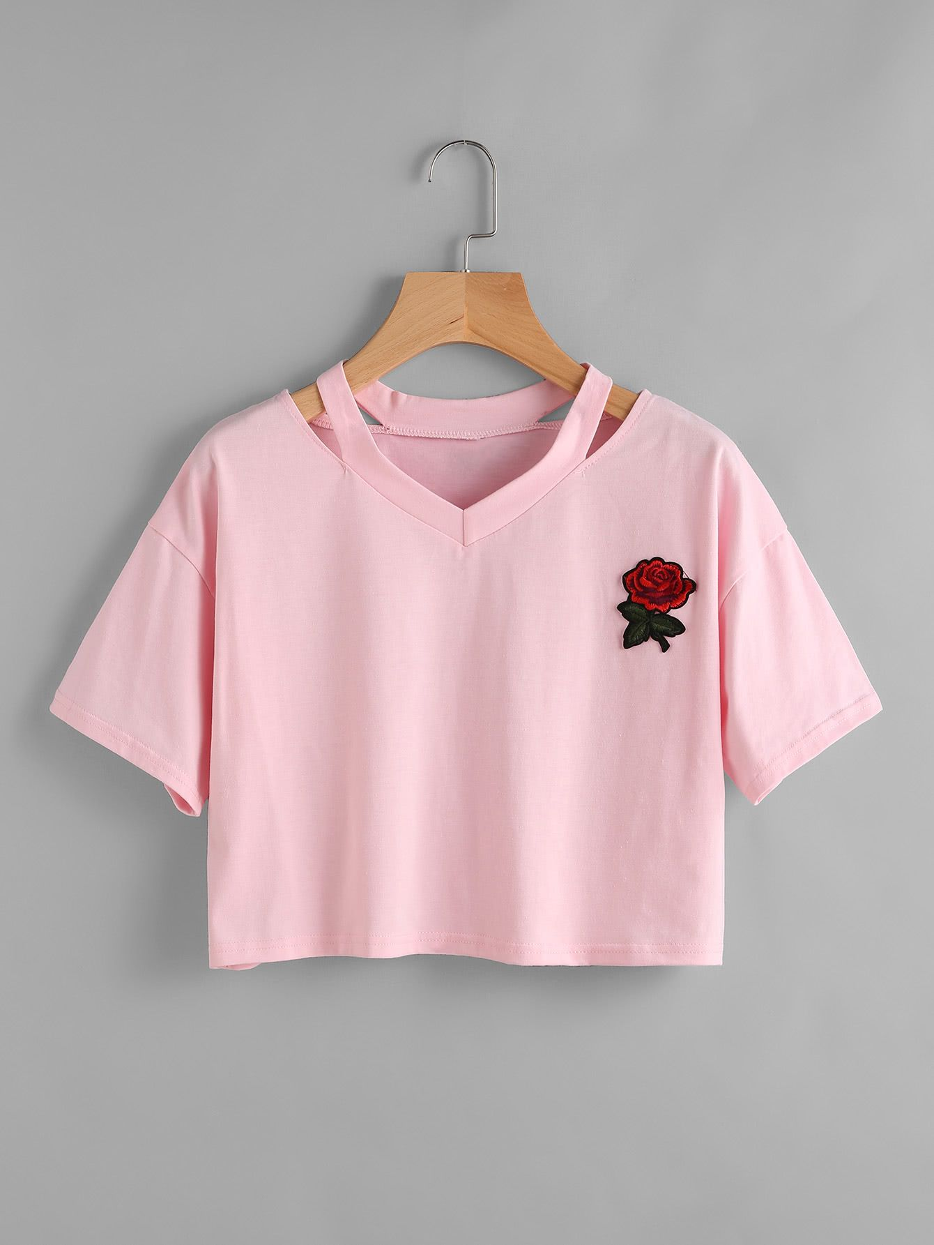 Cut Out Neck Applique Crop Tee | ~cute clothes ...