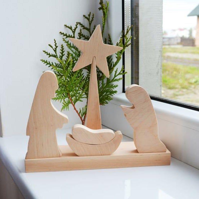 Wooden Nativity Scene Christmas decor joseph mary jesus