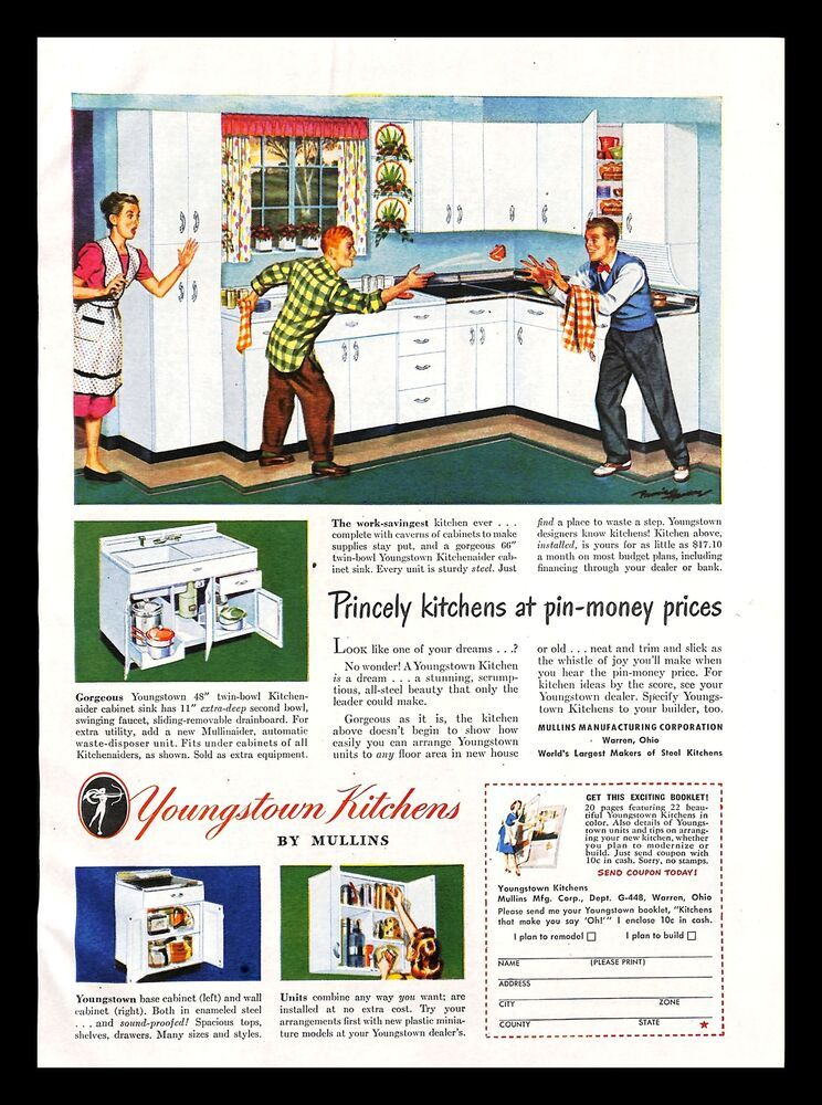 1948 Mullins Youngstown Kitchens Cabinet Vintage Print Ad Mother Sons Dishes Youngstown Print Ads Vintage Prints Youngstown