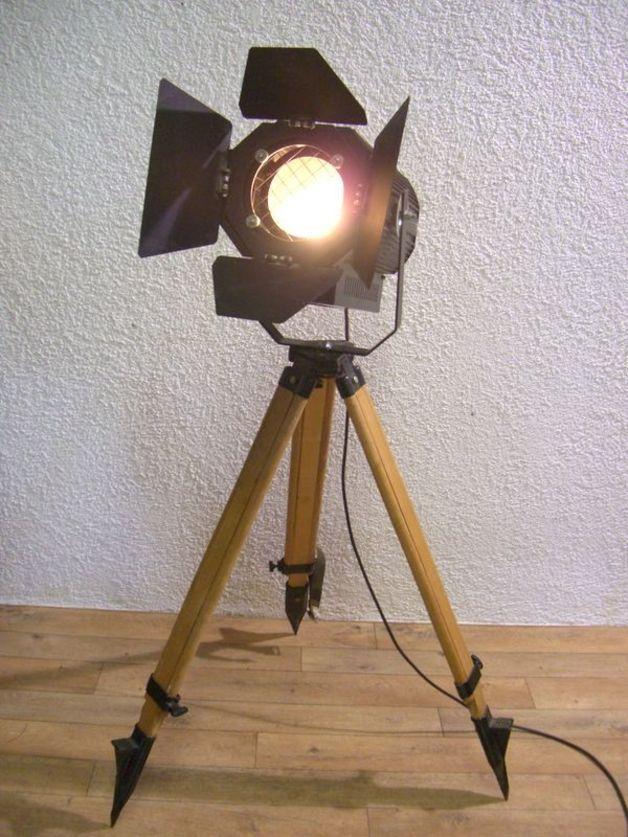 Spectacular Vintage Stehlampen Industrial Design Tripod Lamp Stativ Lampe Unikat ein Designerst ck von Antik