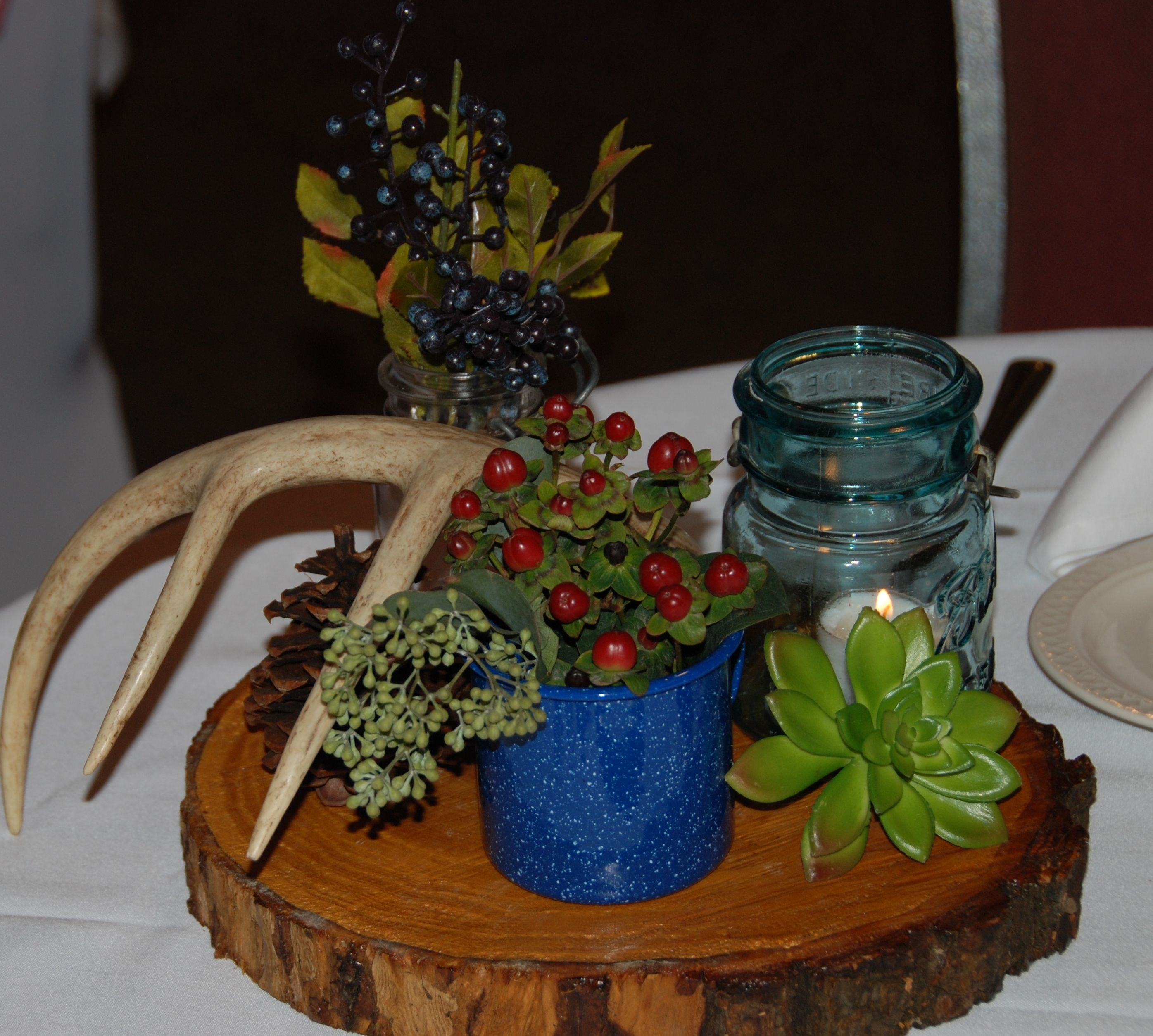 Rustic Wedding Decorations For Indoor And Outdoor Settings: Rustic Outdoor Wedding Centerpiece, Antlers, Camping